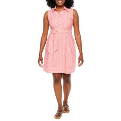 R & K Originals Sleeveless Stripe A-Line Dress-Petite