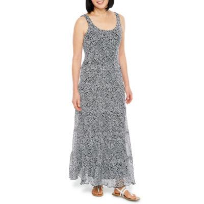 Black Label by Evan-Picone Sleeveless Dots Maxi Dress