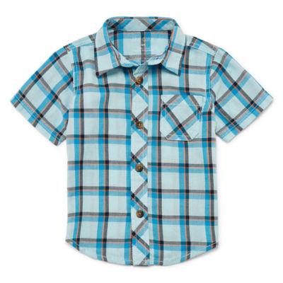 Okie Dokie Plaid Short Sleeve Woven - Baby Boy NB-24M