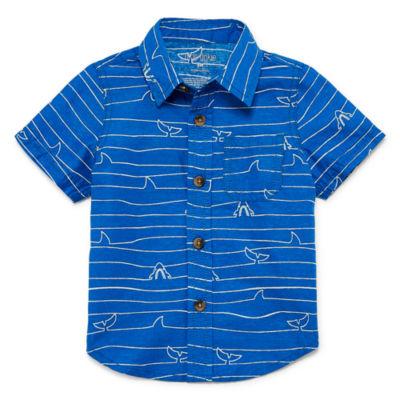 Okie Dokie Shark Print Short Sleeve Woven - Baby Boy NB-24M