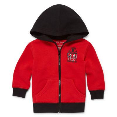 Okie Dokie Red Fleece Zip Up Hoodie - Baby Boy NB-24M