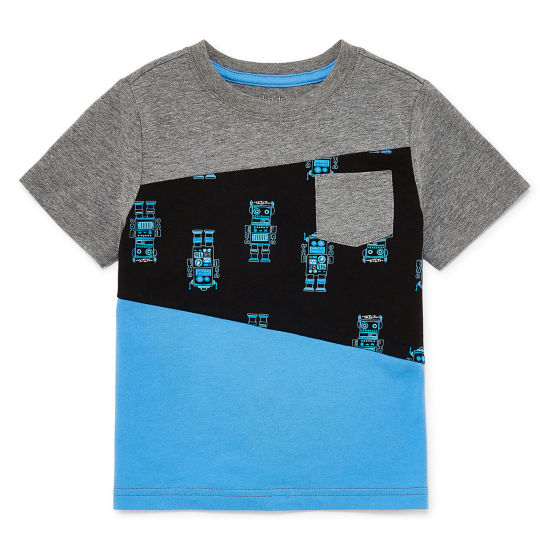 Okie Dokie Short Sleeve Round Neck T-Shirt-Toddler Boys