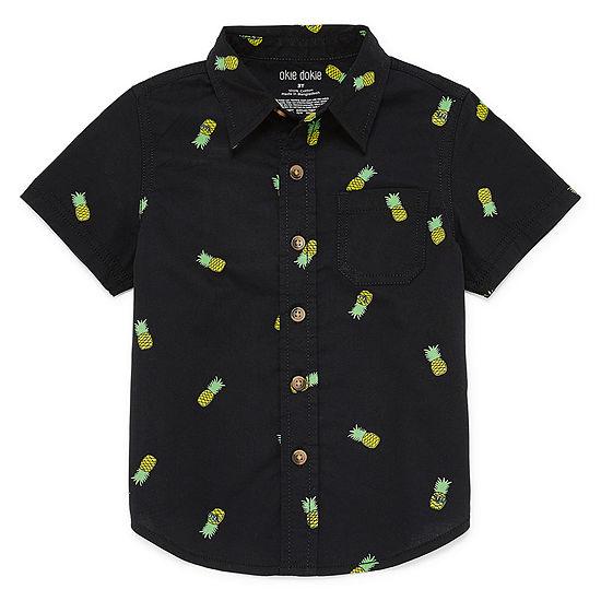 Okie Dokie Toddler Boys Short Sleeve Button-Front Shirt