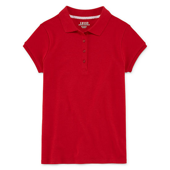 Izod Exclusive Girls Spread Collar Short Sleeve Stretch Polo Shirt