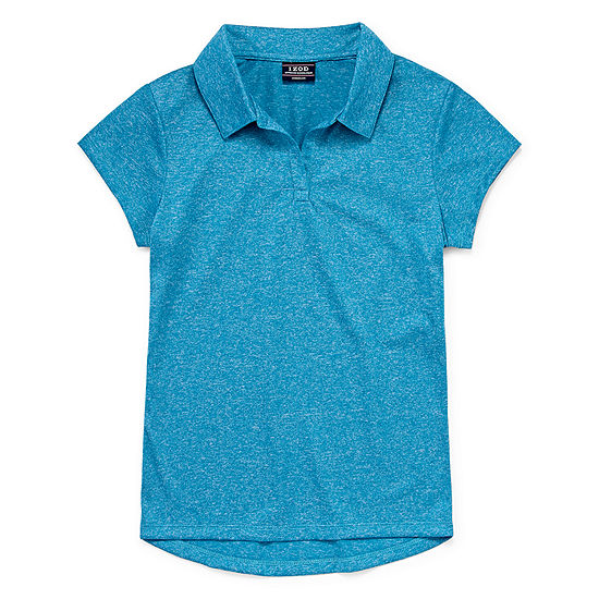 Izod Exclusive Girls Johnny Collar Short Sleeve Moisture Wicking Polo Shirt