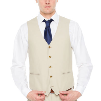 JF J.Ferrar Tan Stretch Suit Vest Slim Fit Stretch Suit Vest