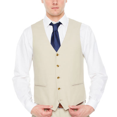 JF J.Ferrar Tan Stretch Slim Fit Vest Suit