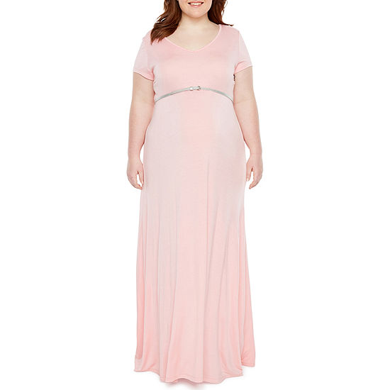 Planet Motherhood Short Sleeve Scoop Neck Maxi Dress - Plus Maternity
