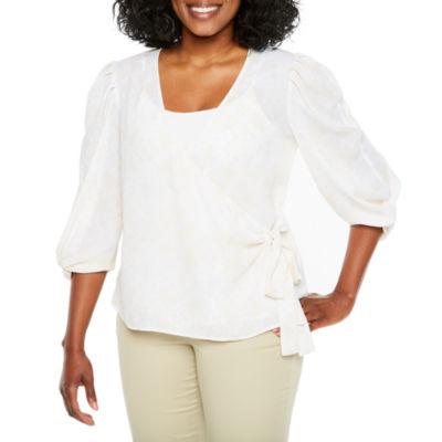 Worthington Elbow Sleeve Wrap Shirt-Petite
