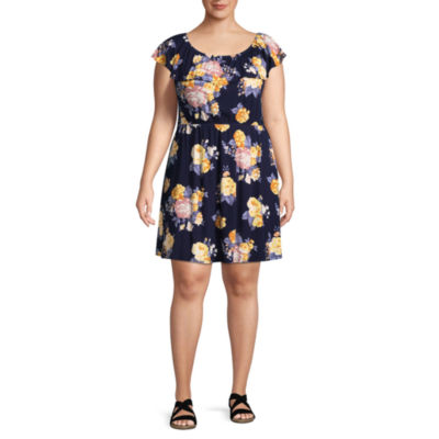 Arizona Short Sleeve Floral A-Line Dress-Juniors Plus