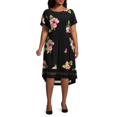 R & K Originals Short Sleeve Floral Fit & Flare Dress - Plus