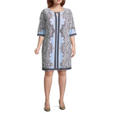 Studio 1 3/4 Sleeve Paisley Shift Dress - Plus