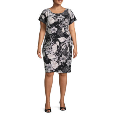 Robbie Bee Short Sleeve Floral Sheath Dress - Plus