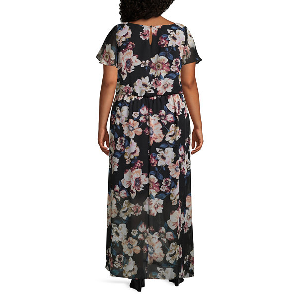 Alyx Short Sleeve Floral Maxi Dress-Plus