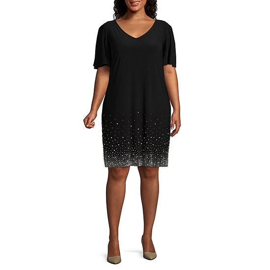 MSK Short Sleeve Beaded Party Dress - Plus