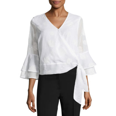 Liz Claiborne Belted Ruffle Sleeve Top - Tall