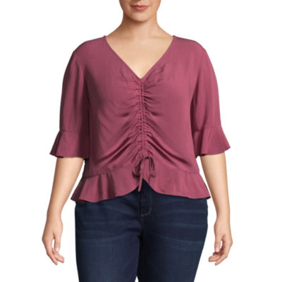 Arizona 3/4 Sleeve V Neck Woven Blouse-Juniors Plus