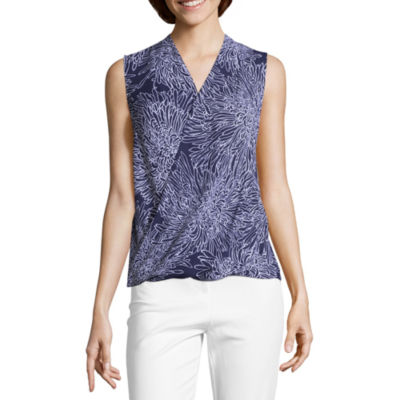Liz Claiborne Sleeveless V Neck Wrap-Front Blouse