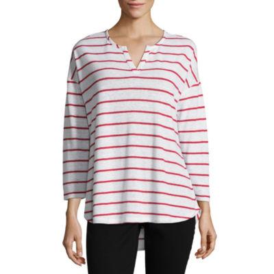 Liz Claiborne 3/4 Sleeve Split Crew Neck Stripe T-Shirt-Womens
