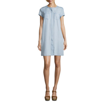 Liz Claiborne Short Sleeve Chambray Shirt Dress