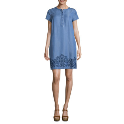 Liz Claiborne Short Sleeve Embroidered Chambray Shift Dress