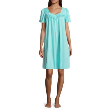 Woven Short Sleeve Round Neck Nightgown