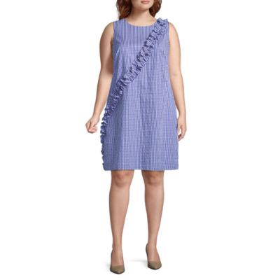 London Times Sleeveless Gingham Shift Dress - Plus