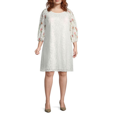 Danny & Nicole 3/4 Sleeve Embroidered Floral Shift Dress - Plus