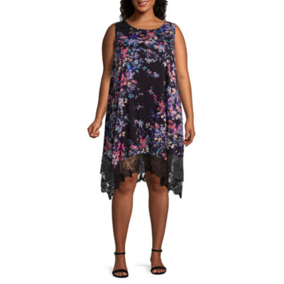 Spense Sleeveless Floral Shift Dress - Plus