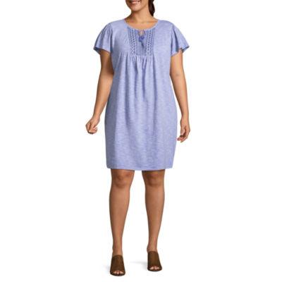 St. John's Bay Short Sleeve Embroidered Stripe Shift Dress - Plus