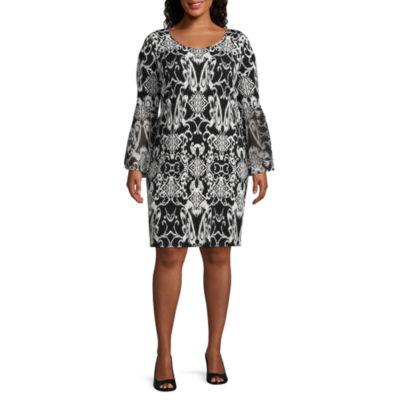 MSK Long Sleeves Scroll Shift Dress - Plus