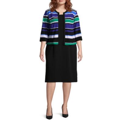 Studio 1 3/4 Sleeve Stripe Jacket Dress - Plus