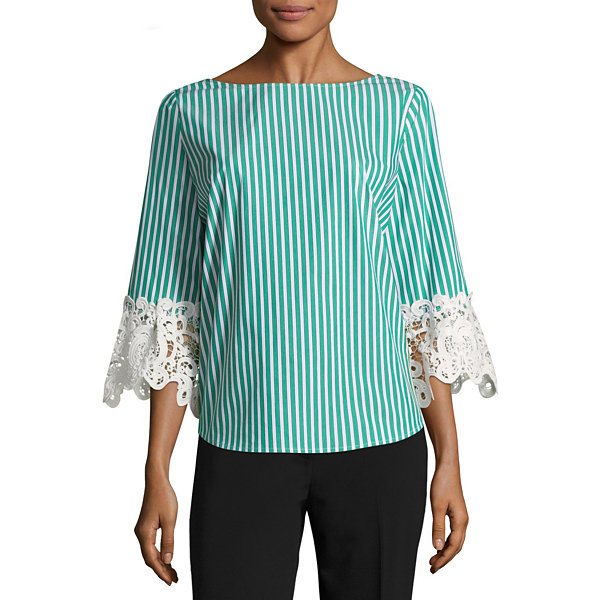Liz Claiborne Lace Sleeve Top - Tall