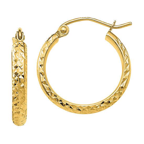 14K Gold 18mm Round Hoop Earrings