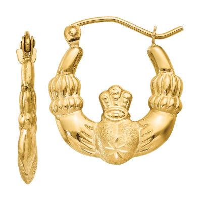 14K Gold 10mm Claddagh Hoop Earrings