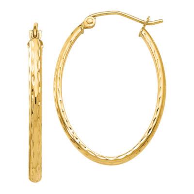 14K Gold 18mm Oval Hoop Earrings