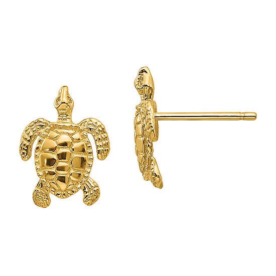 14K Gold 11mm Stud Earrings