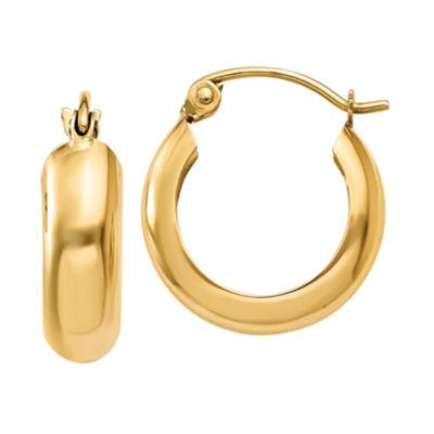 14K Gold 10mm Round Hoop Earrings
