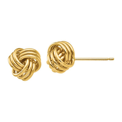 14K Gold 9mm Knot Stud Earrings