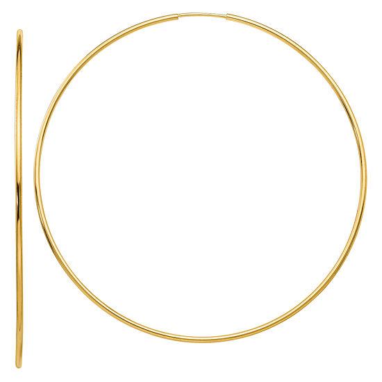 14K Gold 61.7mm Round Hoop Earrings