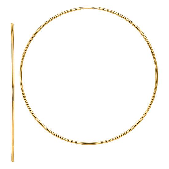 14k Gold 666mm Round Hoop Earrings