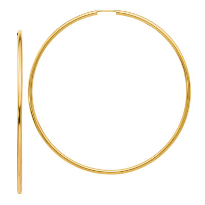 14K Gold 69.8mm Round Hoop Earrings