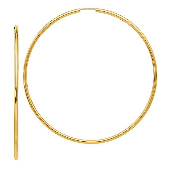14K Gold 69.8mm Round Hoop Earrings