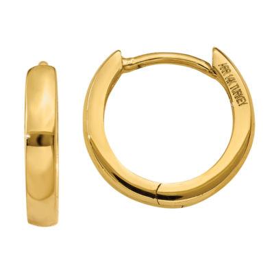 14K Gold 8mm Round Hoop Earrings