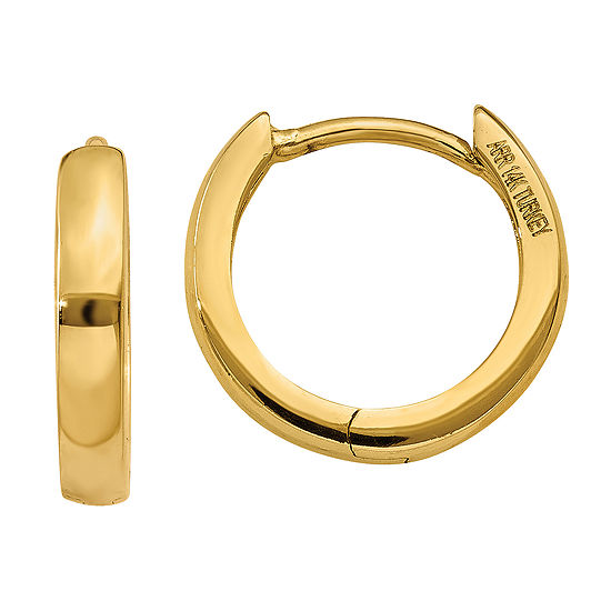 14k Gold 8mm Round Hoop Earrings