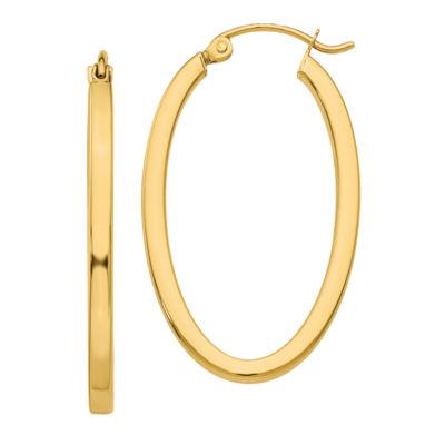 14K Gold 14mm Oval Hoop Earrings