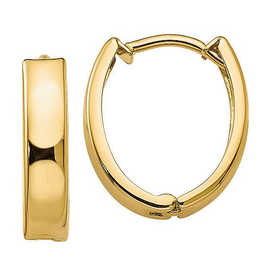 14K Gold 13mm Round Hoop Earrings