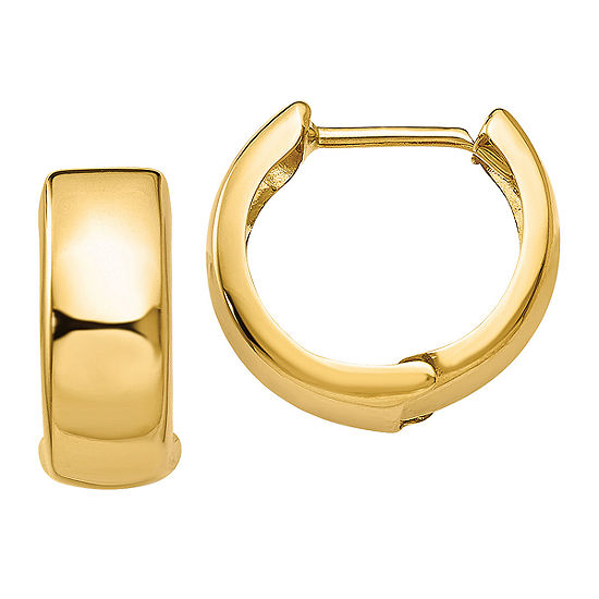 14K Gold 12mm Round Hoop Earrings
