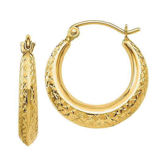 14K Gold 19mm Round Hoop Earrings