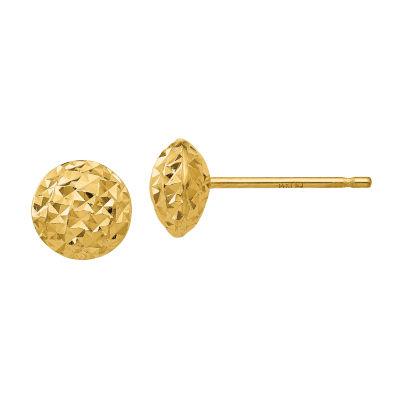 14K Gold 6mm Round Stud Earrings